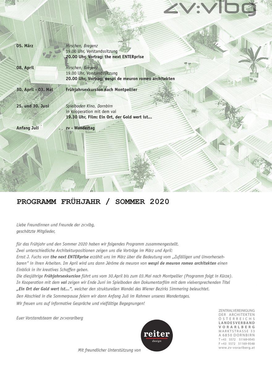 Programm Frühjahr / Sommer 2020